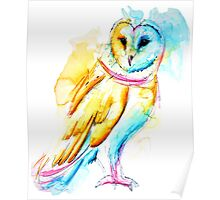 Snow Owl Watercolor Poster