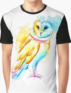 Snow Owl Watercolor Graphic T-Shirt
