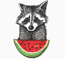 Racoon and watermelon Womens Fitted T-Shirt