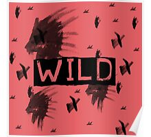 Wild Watercolor Lion Grunge Print Red Poster