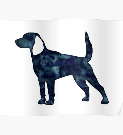 Beagle Hunting Hound Dog Black Watercolor Silhouette Poster