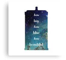 How Big How Blue How Beautiful Tardis Florence Space Canvas Print