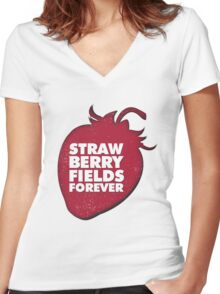 Strawberry Fields Forever T-shirt Women's Fitted V-Neck T-Shirt