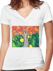 The Fae Tree      Earth Day Women's Fitted V-Neck T-Shirt