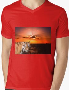 Tiger Mens V-Neck T-Shirt