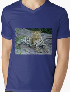 Leopard Mens V-Neck T-Shirt