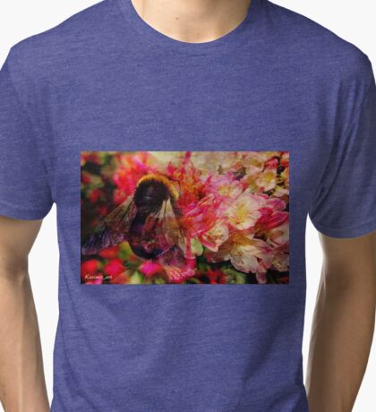 Bee and Flowers Tri-blend T-Shirt