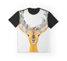 Baby Fawn Nature Floral Wreath Wildlife Boho Graphic T-Shirt