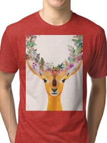 Baby Fawn Nature Floral Wreath Wildlife Boho Tri-blend T-Shirt