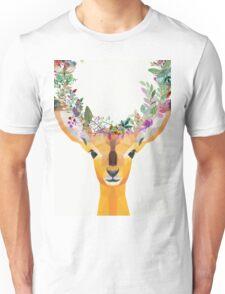 Baby Fawn Nature Floral Wreath Wildlife Boho Unisex T-Shirt