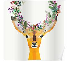 Baby Fawn Nature Floral Wreath Wildlife Boho Poster