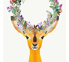 Baby Fawn Nature Floral Wreath Wildlife Boho Photographic Print