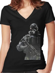 Rainbow Six Siege *Mute* Women's Fitted V-Neck T-Shirt