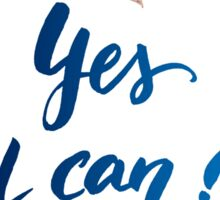 Yes I Can Watercolor Brush Lettering Flowers Floral Wreath Sticker