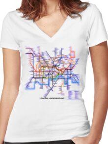 London Underground Tube Women's Fitted V-Neck T-Shirt