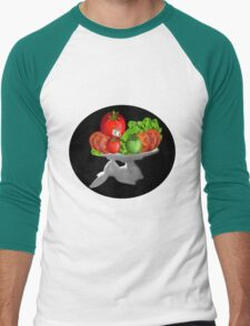 SOME BUNNY IS SERVING  SOME LETTUCE & TOMATOES--VEGETARIAN VARIOUS APPAREL Men's Baseball ¾ T-Shirt