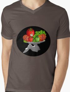 SOME BUNNY IS SERVING  SOME LETTUCE & TOMATOES--VEGETARIAN VARIOUS APPAREL Mens V-Neck T-Shirt