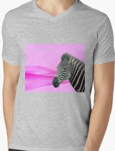 Zebra Mens V-Neck T-Shirt