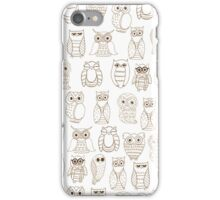 Vintage brown white cute funny little owl pattern iPhone Case/Skin
