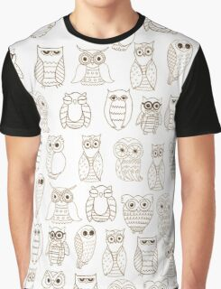 Vintage brown white cute funny little owl pattern Graphic T-Shirt