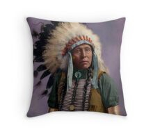 Colorized American Indian Chief  Throw Pillow