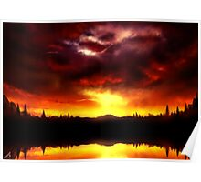 Red Sky reflections Poster