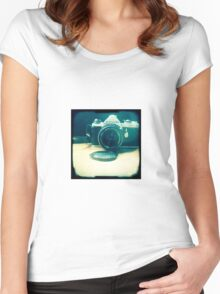Old friend - vintage Pentax camera Women's Fitted Scoop T-Shirt