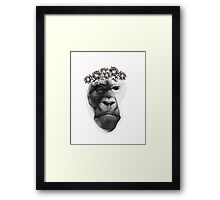 Hand drawn monkey face. Framed Print