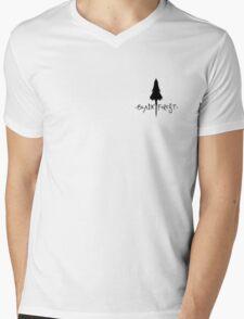 Black Forest - Tree Silhouette Crest Mens V-Neck T-Shirt