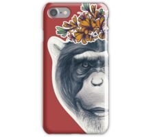 Monkey face with floral composition iPhone Case/Skin