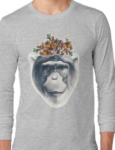 Monkey face with floral composition Long Sleeve T-Shirt