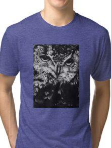 Owl drawing photorealistic Tri-blend T-Shirt