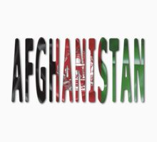 Afghanistan Word With Flag Texture Baby Tee