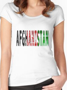 Afghanistan Word With Flag Texture Women's Fitted Scoop T-Shirt