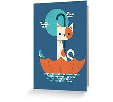 Umbrella Cat Greeting Card