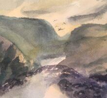 Mountain Scene Watercolor Sticker