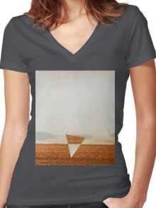 Minimalist collage desert landscape with inverted triangle Women's Fitted V-Neck T-Shirt