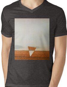 Minimalist collage desert landscape with inverted triangle Mens V-Neck T-Shirt
