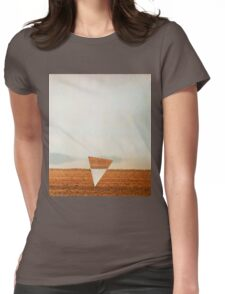 Minimalist collage desert landscape with inverted triangle Womens Fitted T-Shirt