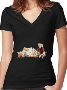Real Calvin and Hobbes Women's Fitted V-Neck T-Shirt