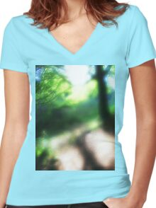 Dreampath. Stackpole Estate Woodland.Round Glass Filter Women's Fitted V-Neck T-Shirt