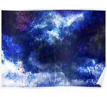 Cool, unique modern abstract blu clouds digital art design Poster