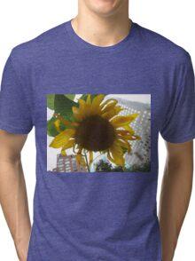 Sunflower Close-Up, Community Garden, Lower Manhattan, New York City  Tri-blend T-Shirt