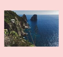 Faraglioni Sea Stacks and Agave Bloom Spikes - the Magic of Capri, Italy One Piece - Short Sleeve