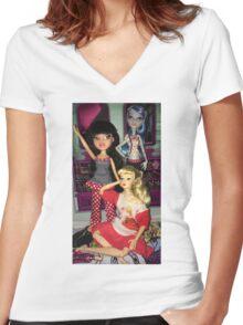 Monster High + Barbie + Bratz  Women's Fitted V-Neck T-Shirt