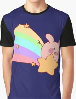 Rainbow Shooting Star Pig Graphic T-Shirt