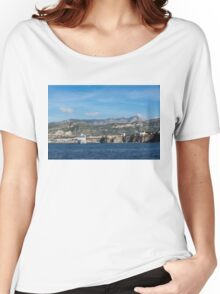 Cruising the Med - Cruise Ship, Imposing Cliff, and Calm Blue Mediterranean Water at Sorrento, Italy Women's Relaxed Fit T-Shirt