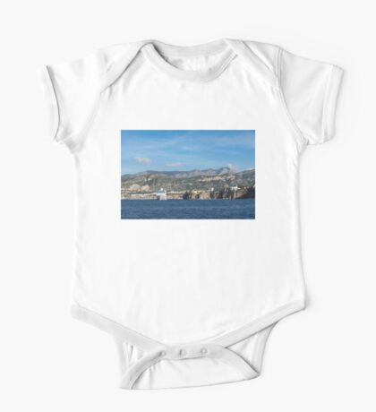 Cruising the Med - Cruise Ship, Imposing Cliff, and Calm Blue Mediterranean Water at Sorrento, Italy One Piece - Short Sleeve