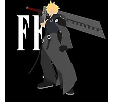 Cloud Strife Vector/Minimalist (Advent Children, White Logo) Photographic Print