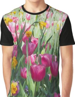 Tulips in a Spring Flower Garden Graphic T-Shirt